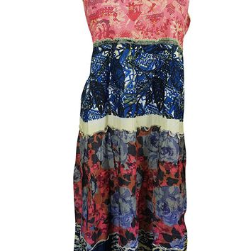 Womens Maxi dress Blue Printed Flare Sleeveless Boho Resort Evening Dresses M/L: Amazon.ca: Clothing & Accessories