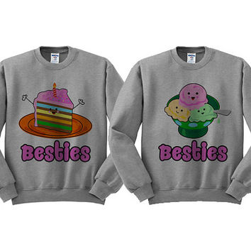 Grey Crewneck - Cake and Ice Cream - Best Friend Sweatshirt Sweater Jumper Pullover Bestie Duo