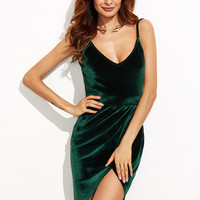Dark Green Backless Ruched Velvet Wrap Cami Dress | MakeMeChic.COM