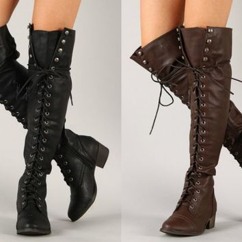 Flat Lace Up Thigh High Boots - Boot Hto