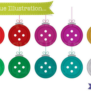 Button Baubles Digital Clipart. Christmas Baubles Clipart. Christmas Clipart. Button Baubles Clip Art. Christmas Clip Art. Christmas Vectors