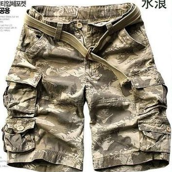 NEW 2018 Outdoor Men Straight Overalls Sport Multi-pocket Tooling Cotton Cargo Hiking tactical Loose Jungle Army Military Shorts