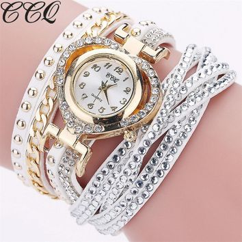 Luxury Fashion Full Crystal Watch Casual Love Great Shape Braided Leather Women Watches Gift