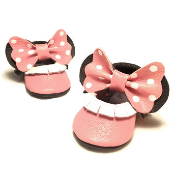 Pink bow white polka dot Mary Janes
