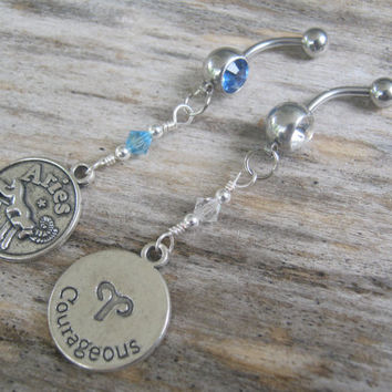 Aries Belly Ring, Zodiac Belly Button Jewelry, Personalized Piercing, Aquamarine Diamond Jewelry, March April Astrology Navel Ring