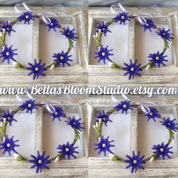 Flower crown, Blue flower girl crown, Toddler crown blue, Bridal crown, white blue flower headpiece wedding flower wreath floral halo etsy