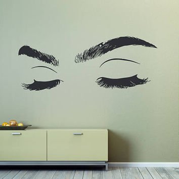 Eyelashes Eye Wall Decal, Eyelashes Eye Wall Sticker, Girls Closed Eyes Wall Decor, Beauty Salon Decoration, Make Up Room Decoration se005