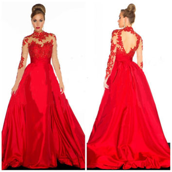 Ball Gown Long Sleeve Sexy Prom Dress [4918233092]