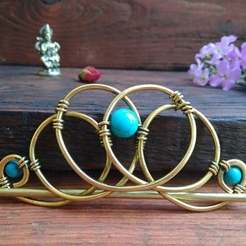 Metall Ponytail Holder with Turquoise, Hair Slide, Hair Pin, Hair accessories, Euler diagram, Ponytail Elastics, One item