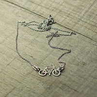Bicycle Pendant, Bike Jewelry, Silver Bicycle, Oxidized Silver Bike, Bike Lover Gift, Cyclist Jewelry, Sport Jewelry,