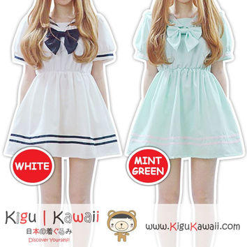 New Kawaii Bow Tie Seifuku Uniform Sweet Lolita Harajuku Fashionable Cosplay Dress Simple Otaku Blouse 2 Colors KK775