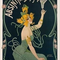 Absinthe Blanqui Green Fairy French Ad Poster 24x36