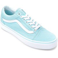 Vans Old Skool Crystal Blue & White Canvas Shoes (Womens)