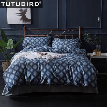 TUTUBIRD 100% Egyptian cotton deep blue plaid bedding sets Duvet Cover Europe style satin covers pillowcase queen king size