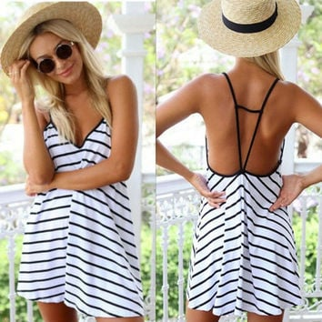 Feelingirl Women Black Stripes V-neck Sleeveless and Backless Summer Dress Spaghetti Strap Dresses = 1696990404