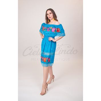 Campesino Lace Dress Turquoise