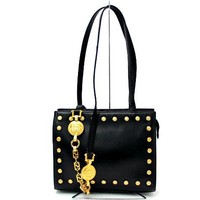 Auth Gianni Versace Black Leather Medusa Tote Shoulder Bag