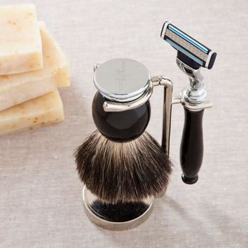Black Badger Shave Brush with Gillete Mach 3 Blade and Stand