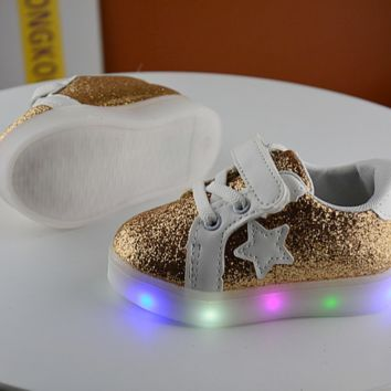 GOLD MERMAID GLITTER LED LIGHT UP TENNIS SHOES TODDLER YOUTH