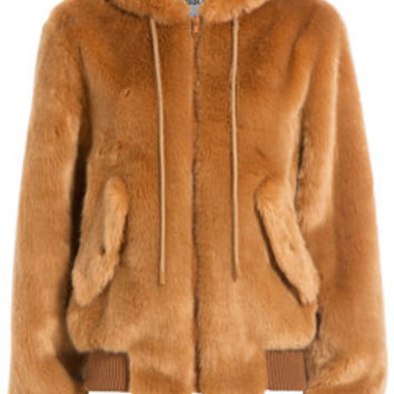 Faux Fur Hoodie Jacket - Moschino | WOMEN | US STYLEBOP.com