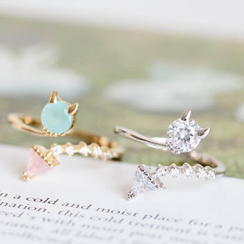 the baby devil ring, cute ring, cz ring,adjustable ring, stretch ring,couple ring,jewelry ring,wedding ring,bridal ring,R140N