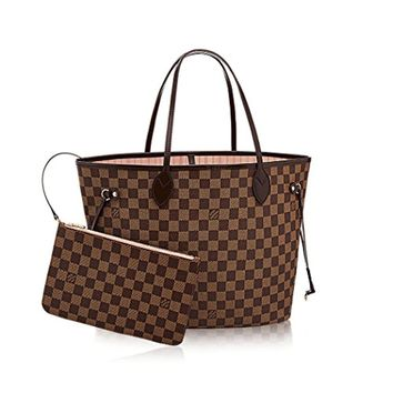 Louis Vuitton Damier Ebene Canvas Rose Ballerine Neverfull MM N41603