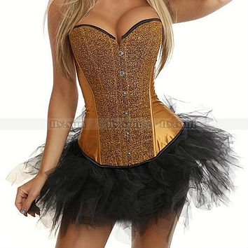 New Gold Sequin Burlesque Boned Overbust Outerwear Corset Bustier Sexy Costume + Black TuTu Skirt S M L XL 2XL