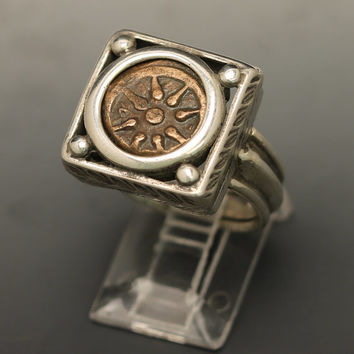 ancient coin ring with authentic widow's mite coin, sterling silver ring size 9.5 with authentic ancient coin