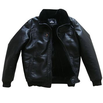 Men Winter Leather Jackets Coat Moto Clothing Outerwear Thicken Bomber Suede Leather Jackets