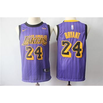 Men's Los Angeles Lakers #24 Kobe Bryant Nike Purple 2018/19 Swingman Jersey – City Edition - Best Deal Online