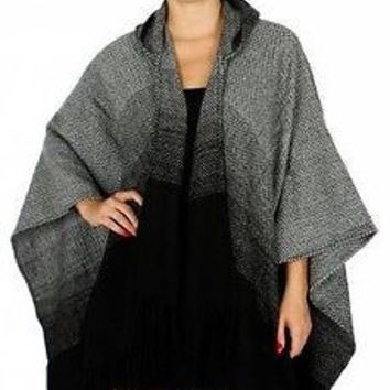 Super Boxy Ombre Cape Poncho Hoodie in 2 Colors