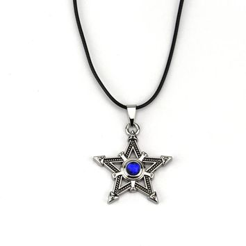 Classic Antique Silver Plated Men Five-pointed Star Pendant Necklace Pentagram Pentacle Blue Crystal BLACK ROCK SHOOTER Necklace