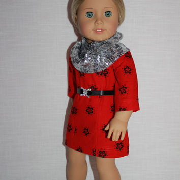 18 inch doll clothes, floral ascot dress, sequin infinity scarf, belt with faux rhinestone buckle, upbeat petites