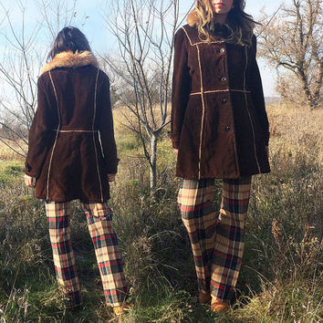 Vintage 1960's 1970's Brown Suede PENNY LANE Shearling Coat || Size Medium