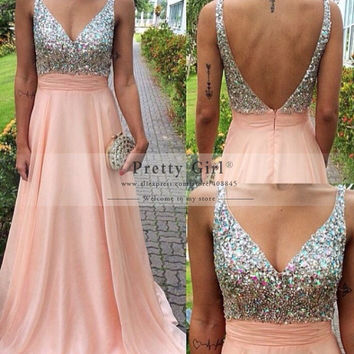 vestido de festa Fashionable Long Prom Dresses 2016 Sexy Backless Crystal Beaded Formal Evening Gowns Graduation Party Dress