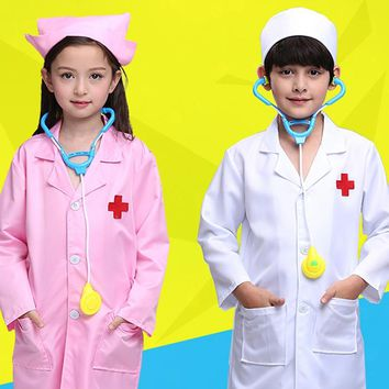 New Kids Doctor Cosplay Costumes Baby Girls Nurse Uniforms Role Play Halloween Party Wear Fancy 5PCs Girls Cosplay Doctor Jacket