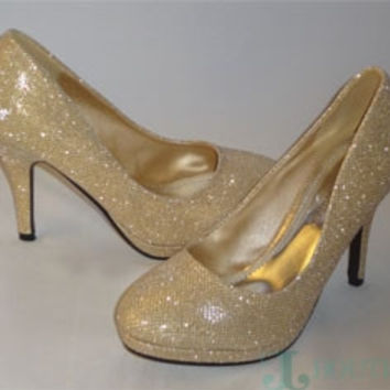 Michaelangelo Sparkly Gold shoes
