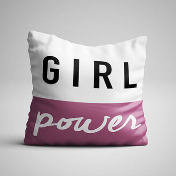 Girl Power Throw Pillow - Decorative Pillow - Home Decor - Girl Power Decor - Pillow Case - Girl Decor