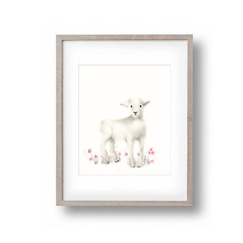 Lamb Nursery Art, Pink Nursery, Baby Girl Nursery art, Flowers, Animal Print, Farm Animals, Childrens Art,  Wall Decor, Print
