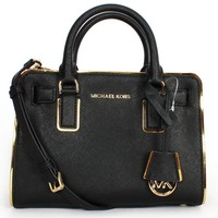 MICHAEL Michael Kors Womens Dillon Specchio Small Top Zip Satchel Black/Gold