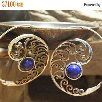 SUMMER End SALE 80% OFF Lapis Lazuli Golden Brass Sterling Silver  Hoops Earrings