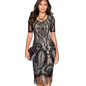 Women Vintage Fringe Tassel Flower Lace Pattern Short Sleeve Sheath Bodycon Dress