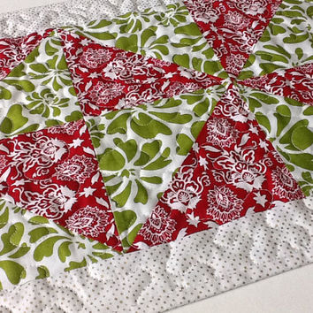 Quilted Christmas Table Runner, Modern Table Runner, Red and Green Table Runner, Quiltsy Handmade
