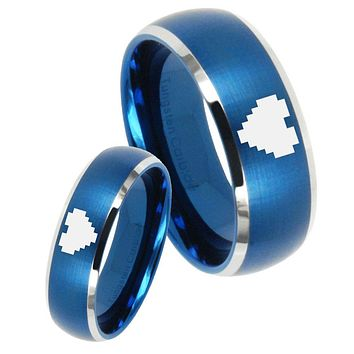 His Her Satin Blue Dome Zelda Heart Two Tone Tungsten Wedding Rings Set