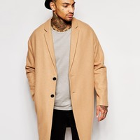 ASOS Drop Shoulder Overcoat In Camel at asos.com