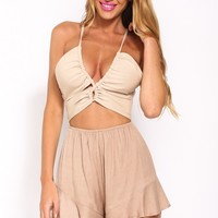 Move And Shake Playsuit Coffee