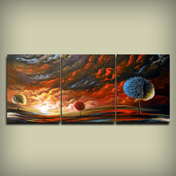 surreal art original painting surreal HUGE 54 x 24 large abstract landscape wall art decor Mattsart