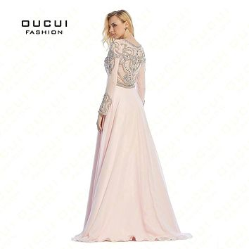 Real Photo Formal Long Sleeves Gown See Through Back Beading Handwork Long Prom Evening Dresses OL102352D
