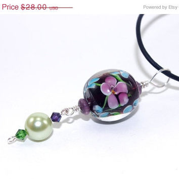 ON SALE Amethyst, blue, green glass bead pendant black leather cord necklace - Swarovski crystals - adjustable length leather cord necklace