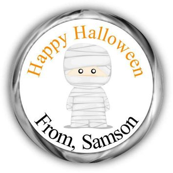 Mummy Halloween Candy Kisses Stickers